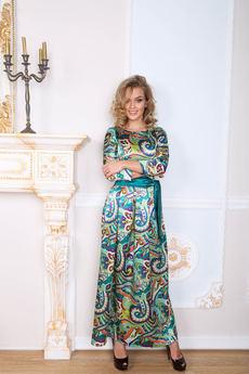 Платье в пол из шелка Open-Style