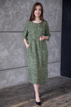 Оливковое повседневное платье миди Lika Dress