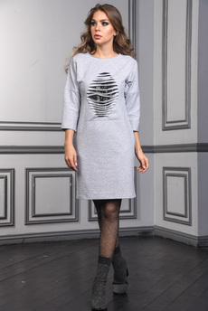 Платье с пайетками на груди Mondigo