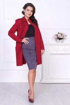 Вязаное бордовое пальто Злата