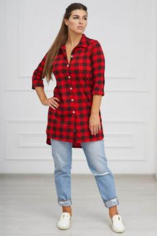 Красная туника-рубашка в клетку Шарлиз со скидкой